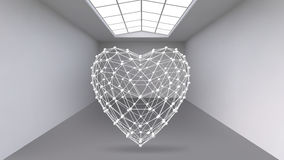 Абстрактная творческая предпосылка геометрических форм - сердце 3d вектора концепции в большой комнате студии с окном самомоднейш Стоковая Фотография