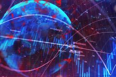 Абстрактная текстура валют с глобусом Стоковые Фото