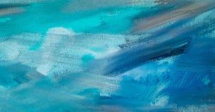 Абстрактная текстура краски масла на холсте, голубой предпосылке краски красочная текстура картины Стоковая Фотография RF