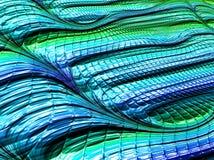 Абстрактная текстурированная синь и зеленые линии фрактали, 3d стоковое фото rf