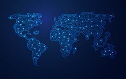Абстрактная технологическая карта мира Стоковая Фотография