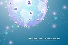 Абстрактная технология концепции соединения сети Соединения глобальной вычислительной сети с пунктами и линиями r иллюстрация вектора