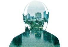Абстрактная толпа сети людей на виртуальном пространстве Стоковые Изображения