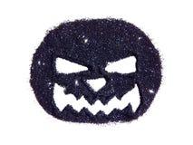 Абстрактная тыква с страшным рыльцем черного яркого блеска, праздничного символа хеллоуина, значка Стоковые Фото