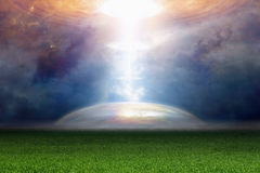 Абстрактная фантастическая предпосылка - фара от ufo Стоковое Изображение
