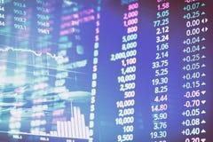Абстрактная финансовая диаграмма складских номеров с диаграммой и стог монеток в двойной экспозиции вводят предпосылку в моду Стоковое Изображение