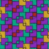 Абстрактная фиолетовая картина с квадратными элементами Стоковое фото RF
