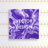 Абстрактная фиолетовая мраморная карточка текстуры, Vector фиолетовые линии предпосылка золота картины, устанавливает ваш текст бесплатная иллюстрация