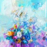 Абстрактная флористическая картина цвета масла Природа цветка весны сезонная Стоковое Изображение