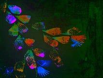 Абстрактная флористическая красочная текстурированная предпосылка покрашенная рукой Стоковое фото RF