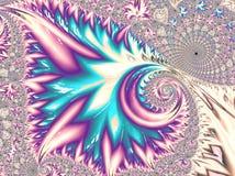 Абстрактная фракталь песка, голубых и пурпурных текстурированная флористическая спиральная, 3d представляет для плаката, дизайна  стоковая фотография