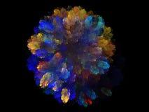 Абстрактная фракталь с красочным голубым цветочным узором стоковые фотографии rf