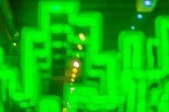 Абстрактная футуристическая зеленая предпосылка приведенная светов Моргать зеленый цвет Стоковые Изображения