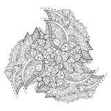 Абстрактная флористическая картина предпосылки doodle Круговой орнамент Стоковые Изображения
