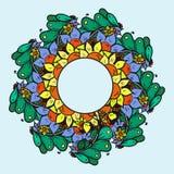 Абстрактная флористическая картина предпосылки doodle Круговой орнамент Стоковое Изображение RF
