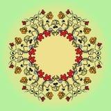Абстрактная флористическая картина предпосылки doodle Круговой орнамент Стоковая Фотография