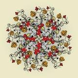 Абстрактная флористическая картина предпосылки doodle Круговой орнамент Стоковая Фотография RF