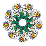 Абстрактная флористическая картина предпосылки doodle Круговой орнамент Стоковое Изображение