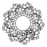 Абстрактная флористическая картина предпосылки doodle Круговой орнамент Стоковое Фото