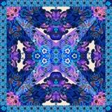 Абстрактная флористическая печать Bandana, салфетка, шаль, скатерть вектор иллюстрация штока