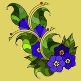 Абстрактная хворостина с цветками Вариант цвета Стоковое Изображение