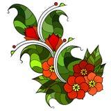 Абстрактная хворостина с цветками Вариант цвета Стоковое Изображение RF
