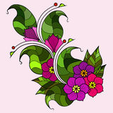 Абстрактная хворостина с цветками Вариант цвета Стоковые Изображения RF