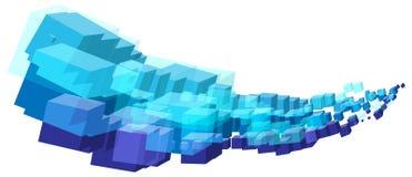 Абстрактная холодная голубая волна потока форм кубов Стоковое Изображение