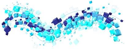 Абстрактная холодная голубая волна потока форм кубов Стоковое Фото