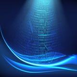 Абстрактная цифровая предпосылка с цепями световых маяков, волнами, концепцией виртуального космоса технологий будущего иллюстрация штока