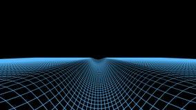 Абстрактная цифровая предпосылка тоннеля Иллюстрация решетки ландшафта wireframe технологии виртуального пространства 3d Промоина Стоковое фото RF