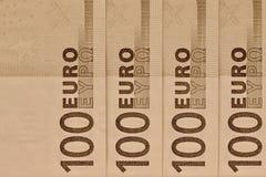 Абстрактная часть банкнота 100 евро Стоковая Фотография RF