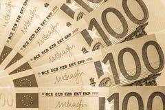 Абстрактная часть банкнота 100 евро Стоковое Изображение RF