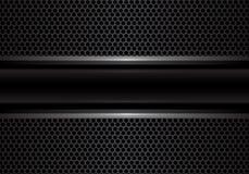 Абстрактная черная линия серебра знамени на темноте - векторе текстуры предпосылки серого дизайна сетки круга роскошном Стоковое Фото