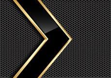 Абстрактная черная лоснистая линия стрелка золота на векторе предпосылки серого дизайна сетки круга металла современном футуристи Стоковое Изображение