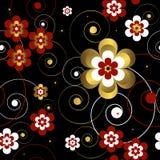 абстрактная черная флористическая картина безшовная Стоковое Изображение RF