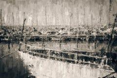 абстрактная черно-белая предпосылка Марины с шлюпкой стиль картины маслом бесплатная иллюстрация