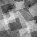 Абстрактная черно-белая предпосылка слоев пересекая диаманта преграждает прямоугольники и квадраты плавая в случайную картину Стоковое Изображение RF