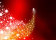 Абстрактная яркая падающая звезда - звезда стрельбы с звездой мерцания Стоковые Фото