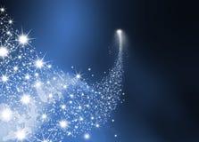 Абстрактная яркая падающая звезда - звезда стрельбы с звездой мерцания Стоковая Фотография RF