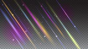Абстрактная яркая предпосылка с moving световыми лучами и объектив flare в мягком фокусе Динамическое цифровое, фон технологии дл Стоковое Изображение