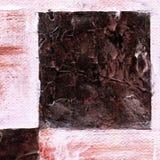 Абстрактная checkered картина покрашенная с красками acrylic или масла на холсте в коричневых и бежевых цветах Стоковые Фото