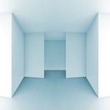 Абстрактная 3d предпосылка, свет - голубой пустой интерьер комнаты Стоковое фото RF