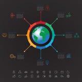 Абстрактная 3D цифровая иллюстрация Infographic с картой мира смогите иллюстрация штока