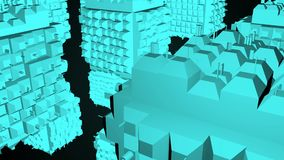 Абстрактная greeble поверхность кубов на черной предпосылке перевод 3d акции видеоматериалы