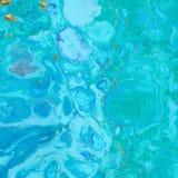 Абстрактная marbleized предпосылка влияния Голубые творческие цвета Красивая краска с дополнением золота стоковые фото
