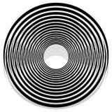 Абстрактная monochrome спираль, вортекс с радиальным, излучая круг Стоковые Изображения RF