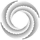 Абстрактная monochrome спираль, вортекс с радиальным, излучая круг Стоковая Фотография