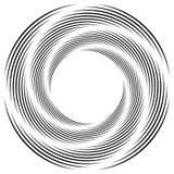 Абстрактная monochrome спираль, вортекс с радиальным, излучая круг Стоковые Изображения