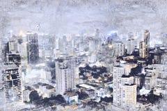 Абстрактное администраривное администраривн в городе на предпосылке картины акварели стоковое фото